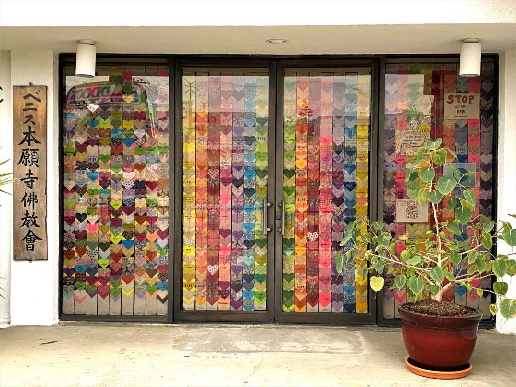 Hearts for Love display in front door of temple